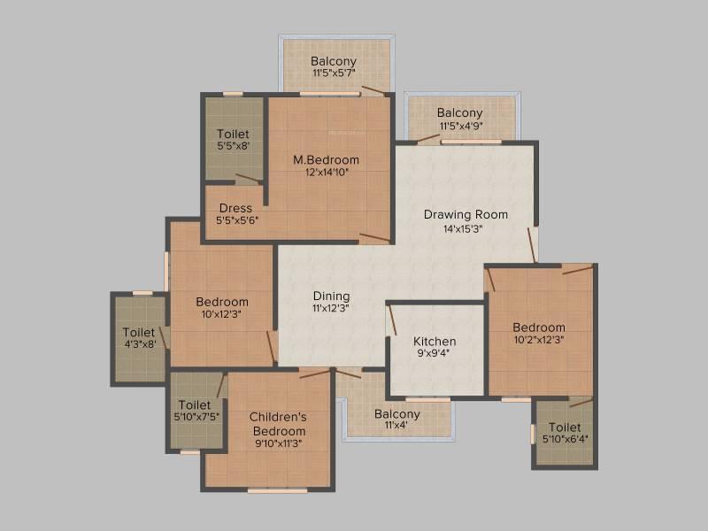 Orris Carnation Residency (4BHK+4T (1,975 sq ft) 1975 sq ft)