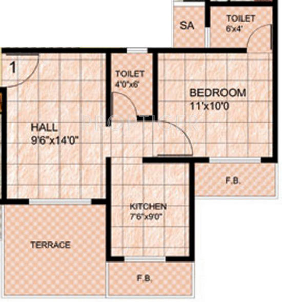 720 Sq Ft Apartment Floor Plan Of 720 Sq Ft 1 Bhk 1t Apartment For Sale In Mohan Group
