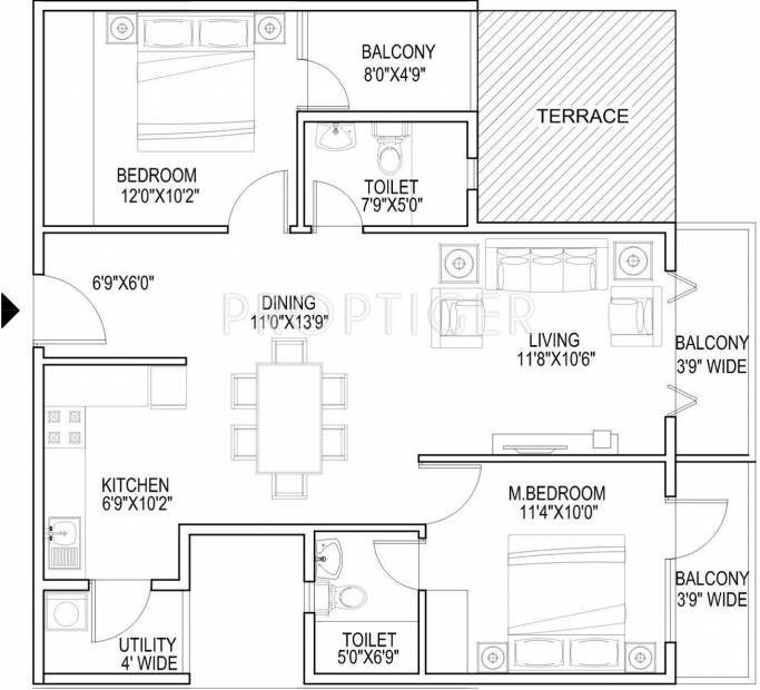 CMRS Royal Orchid (2BHK+2T (1,100 sq ft) 1100 sq ft)