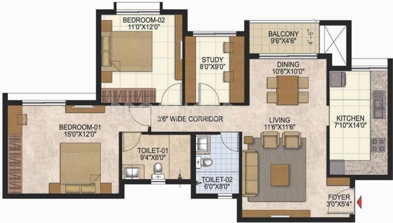 Prestige West Woods (2BHK+2T (1,357 sq ft) + Study Room 1357 sq ft)