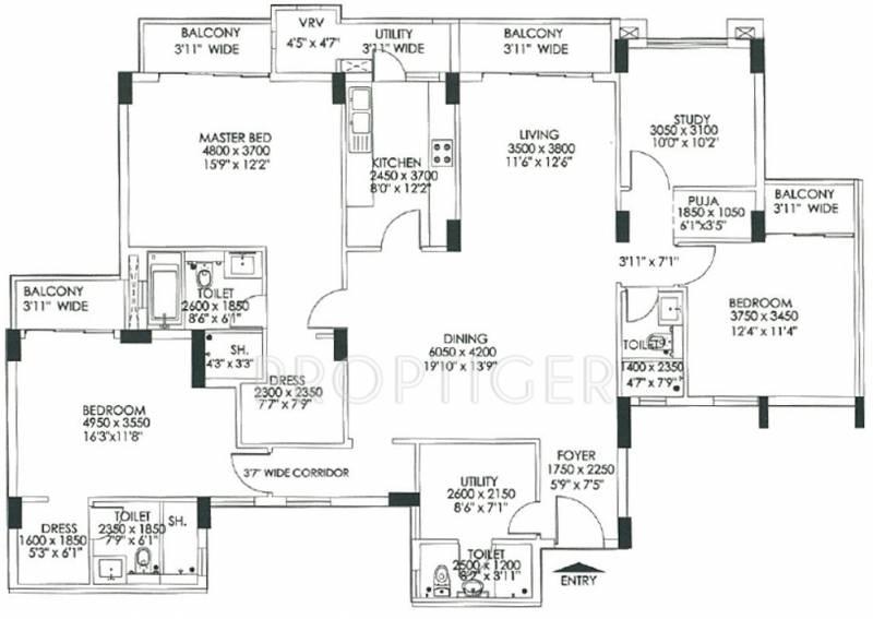 DLF Commanders Court (3BHK+3T (2,635 sq ft) + Study Room 2635 sq ft)