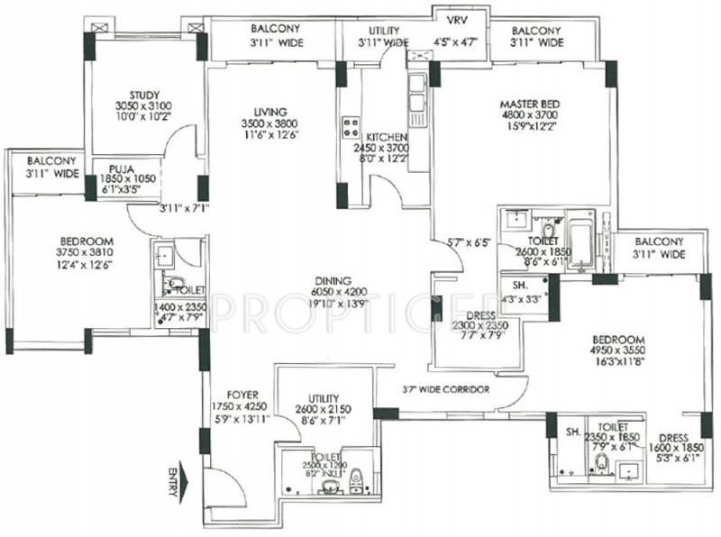 DLF Commanders Court (3BHK+3T (2,699 sq ft) + Study Room 2699 sq ft)