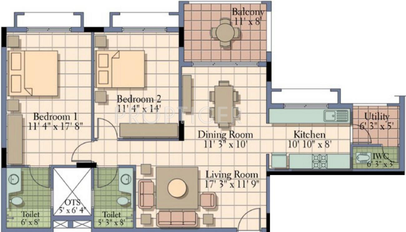 1400 Sq Ft 2 Bhk 2t Apartment For Sale In Ukn Properties