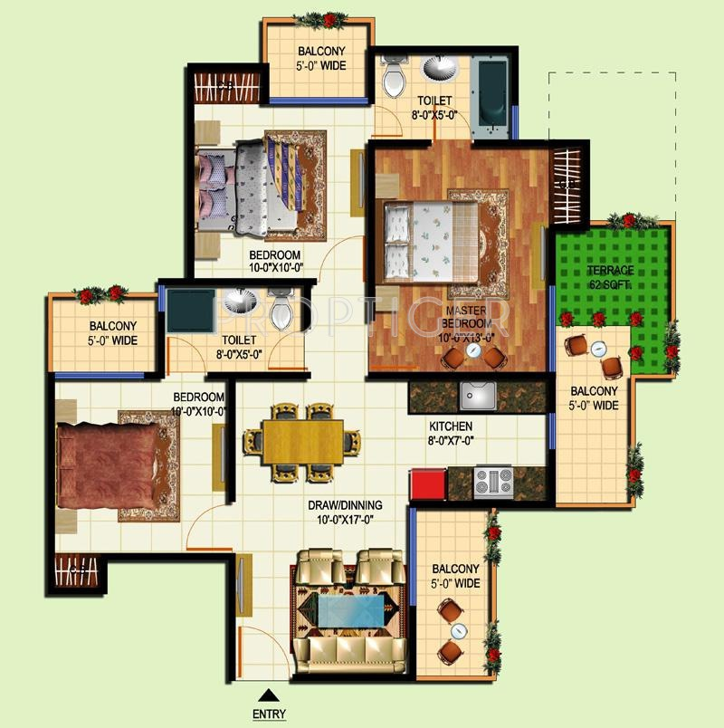 Amrapali tropical garden in techzone 4 noida price for Tropical floor plans