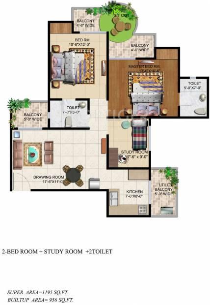 Ajnara Grand Heritage (2BHK+2T (1,195 sq ft)   Study Room 1195 sq ft)