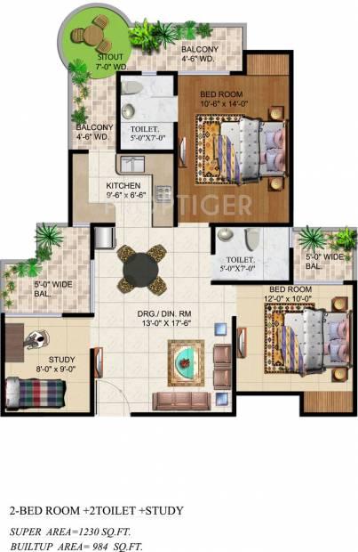 Ajnara Grand Heritage (2BHK+2T (1,230 sq ft)   Study Room 1230 sq ft)