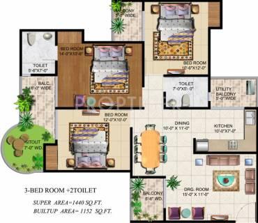 1440 Sq Ft 3 Bhk Floor Plan Image Ajnara India Grand Heritage Available For Sale Proptiger Com