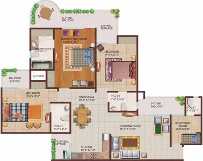 Ajnara Grand Heritage (3BHK+4T (2,025 sq ft)   Servant Room 2025 sq ft)