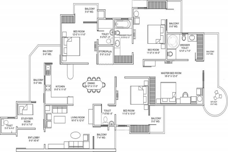 Ajnara Grand Heritage (4BHK+5T (2,675 sq ft)   Servant Room 2675 sq ft)