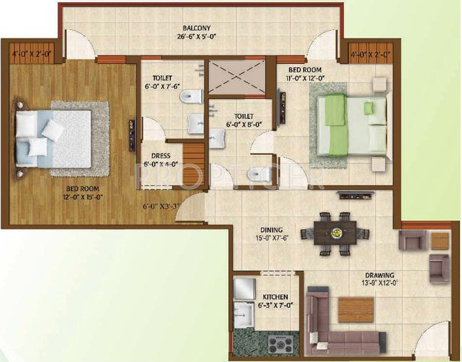 1200 sq ft 2 bhk 2t apartment for sale in avj group for Apartment plans 1200 sq ft