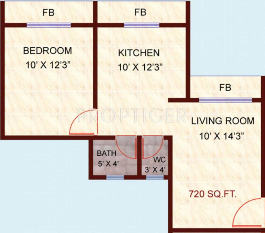 720 Sq Ft Apartment Floor Plan Of 720 Sq Ft 1 Bhk 1t Apartment For Sale In Happy Home Group