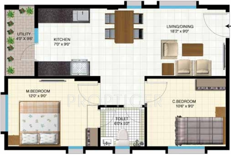 750 Sq Ft 2 Bhk 1t Apartment For Sale In Indya Estates The