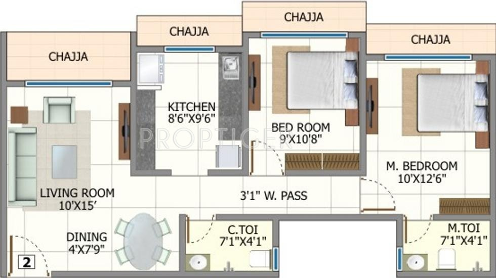 925 Sq Ft 2 Bhk 2t Apartment For Sale In Yogsiddhi