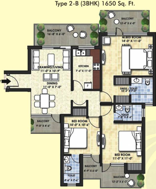 1650 Sq Ft 3 Bhk 3t Apartment For Sale In Avalon Rosewood