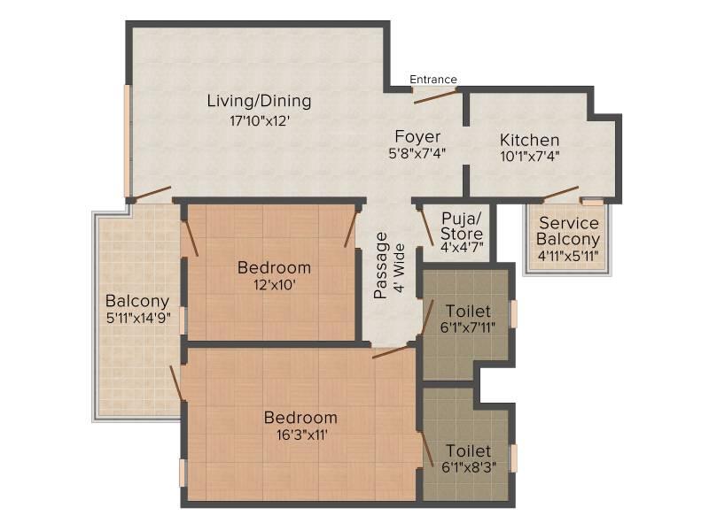 Ireo The Corridors (2BHK+2T (1,296 sq ft) + Pooja Room 1296 sq ft)