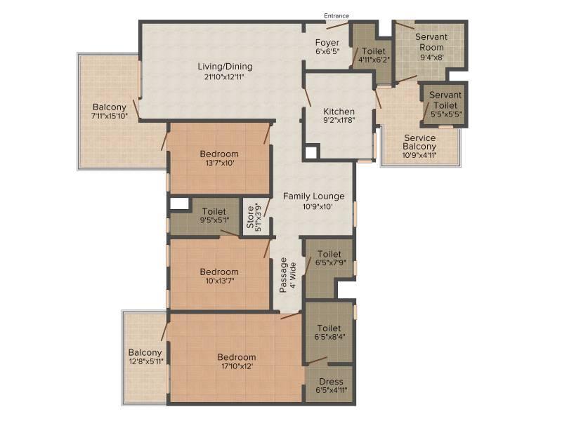 Ireo The Corridors (3BHK+3T (2,416 sq ft) + Study Room 2416 sq ft)