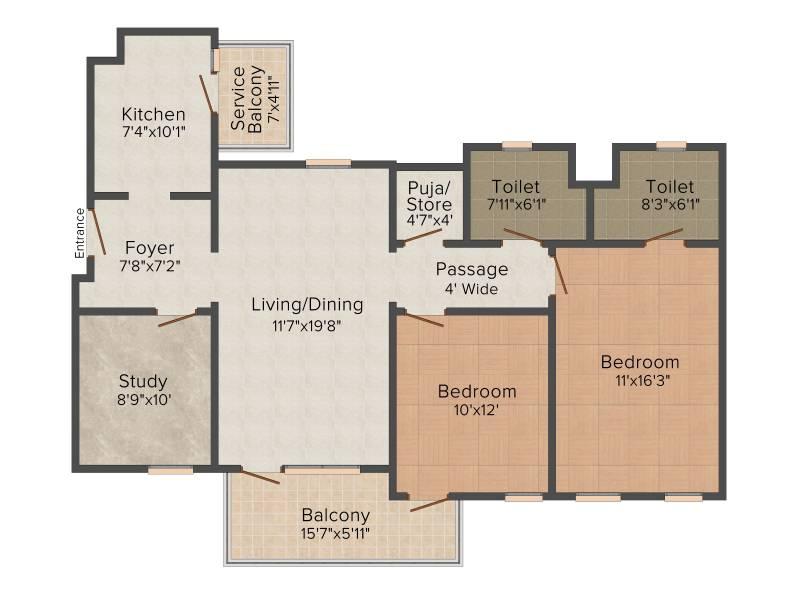 Ireo The Corridors (2BHK+2T (1,484 sq ft) + Study Room 1484 sq ft)