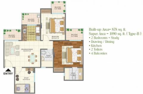 1090 Sq Ft 2 Bhk Floor Plan Image Arihant Buildcon Arden Available For Sale Rs In 39 51 Lacs Proptiger Com