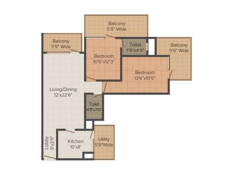 Capital Residency 360 (2BHK+2T (1,400 sq ft) 1400 sq ft)