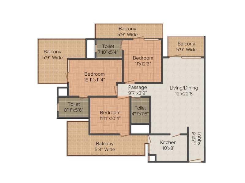 Capital Residency 360 (3BHK+3T (1,900 sq ft) + Servant Room 1900 sq ft)