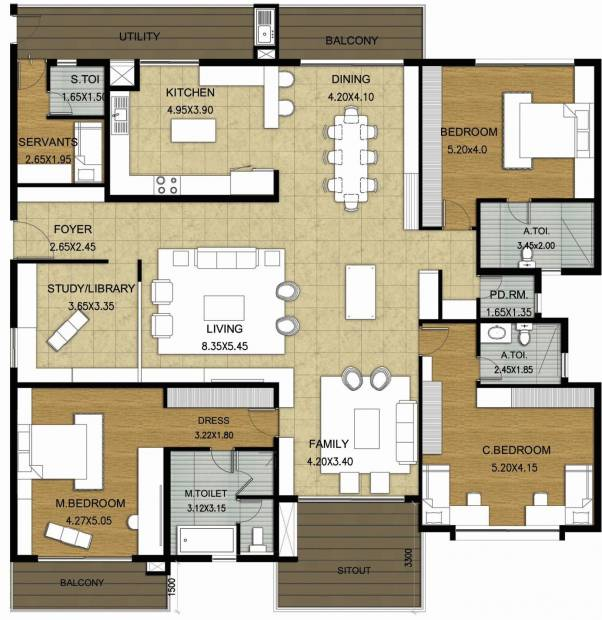 Value Willow Farm (3BHK+3T (3,613 sq ft)   Study Room 3613 sq ft)