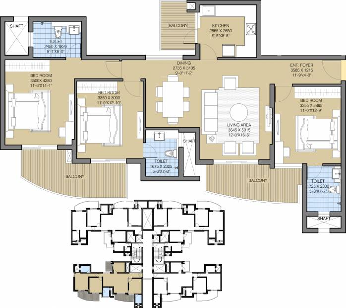 1750 sq ft 3 bhk floor plan image ats green tourmaline for 8000 sq ft house plans