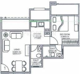720 Sq Ft Apartment Floor Plan Of 720 Sq Ft 1 Bhk 2t Apartment For Sale In Atul Projects