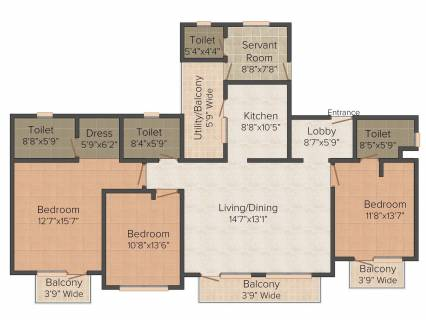 2151 Sq Ft 3 Bhk Floor Plan Image Ats Green One Hamlet Available For Sale Proptiger Com