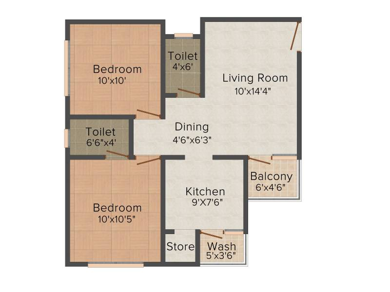Sun Real Home (2BHK+2T (981 sq ft) 981 sq ft)