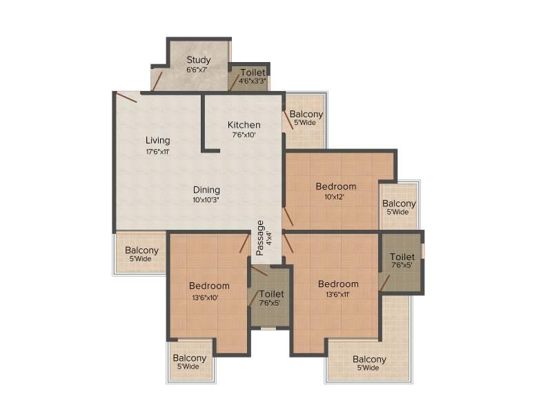 Skytech Matrott (3BHK+3T (1,645 sq ft) + Study Room 1645 sq ft)