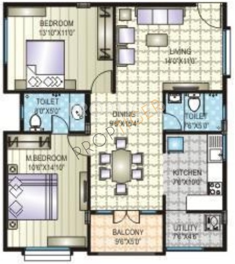 1125 sq ft 2 bhk 2t apartment for sale in prime flora for 1125 sq ft floor plan