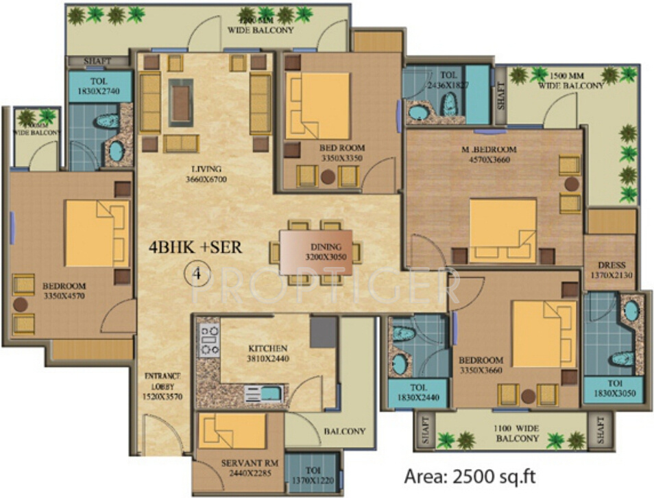 2500 sq ft 4 bhk 4t apartment for sale in real anchors for Apartment floor plans 2500 sq ft