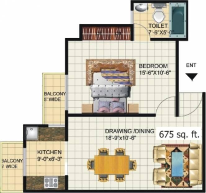 Amrapali Princely Estate (1BHK+1T (675 sq ft) 675 sq ft)