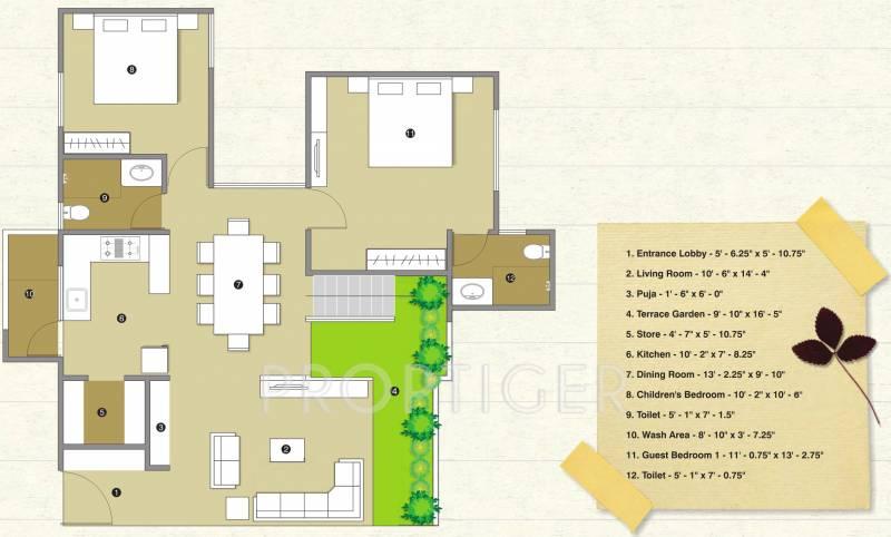 2284 Sq Ft 4 Bhk Floor Plan Image Pacifica Companies