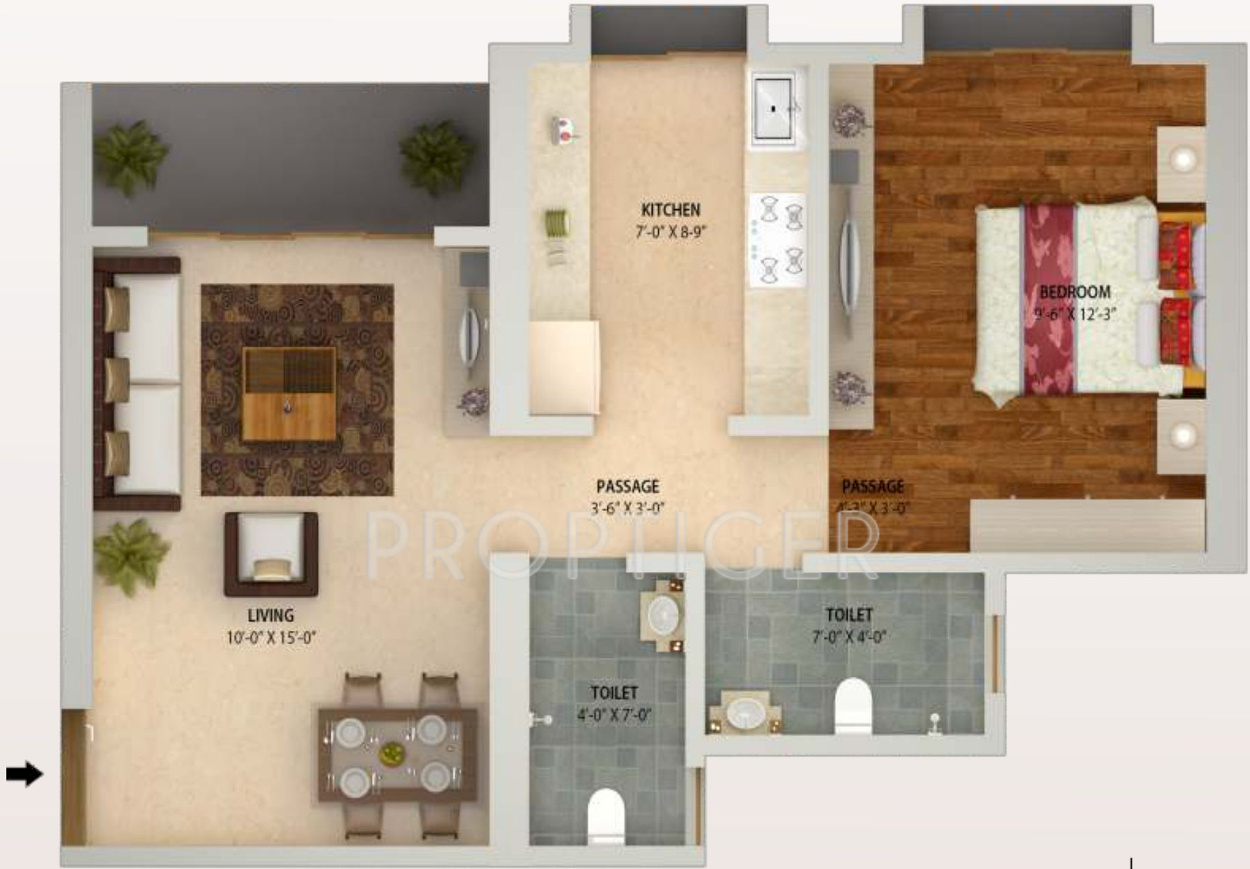 720 Sq Ft 1 Bhk 2t Apartment For Sale In Ravi Group The