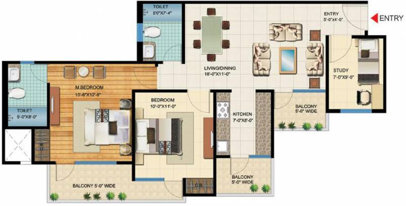VVIP Homes (2BHK+2T (1,190 sq ft) + Study Room 1190 sq ft)
