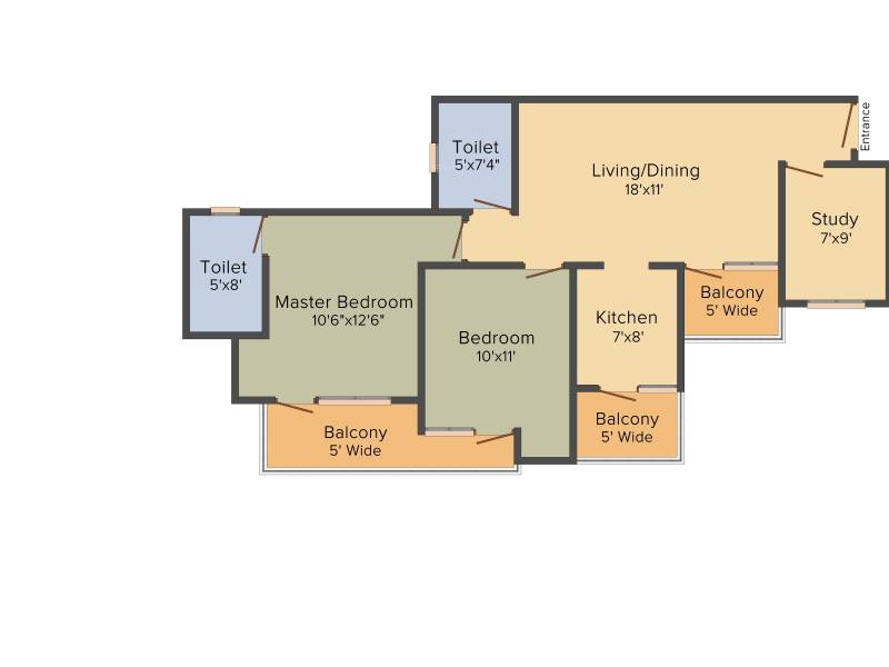 VVIP Homes (2BHK+2T (1,190 sq ft) + Study Room 1190 sq ft)