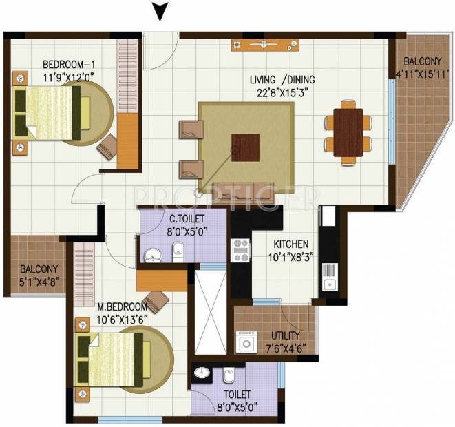 1300 sq ft 2 bhk floor plan image century real estate for 6500 square foot house plans