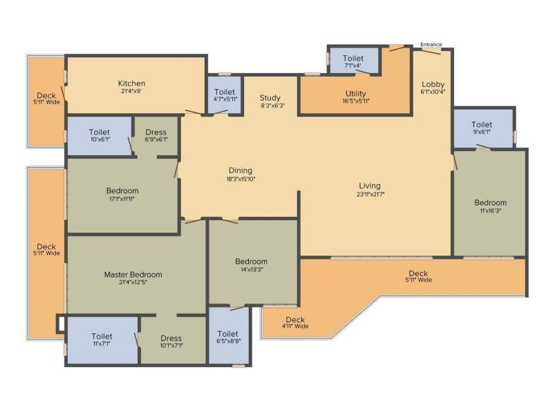 DLF The Crest (4BHK+6T (3,898 sq ft)   Study Room 3898 sq ft)