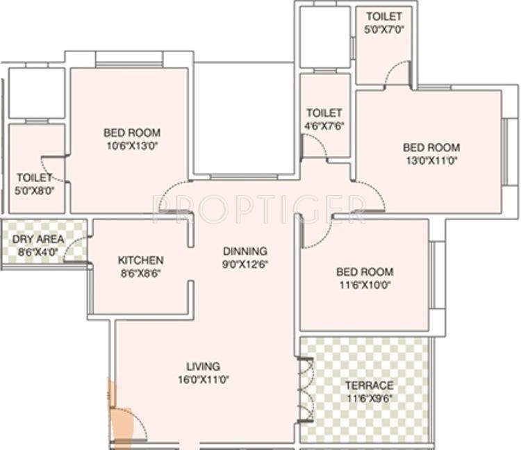 1300 Sq Ft 3 Bhk 3t Apartment For Sale In Karan Bella