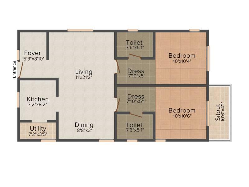 Vijaya SpringWoods (2BHK+2T (1,040 sq ft) 1040 sq ft)