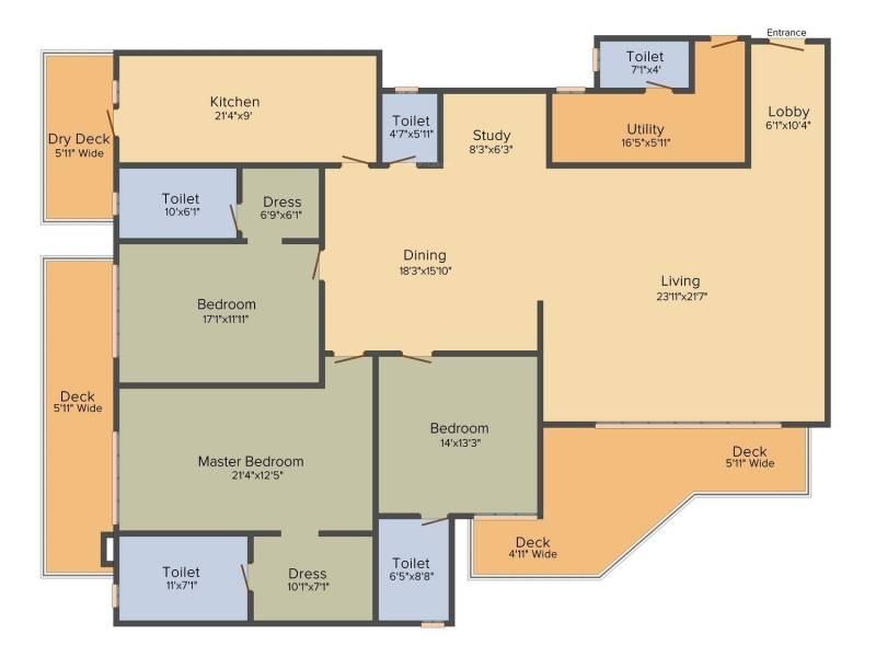 DLF The Crest (3BHK+5T (3,511 sq ft) + Study Room 3511 sq ft)
