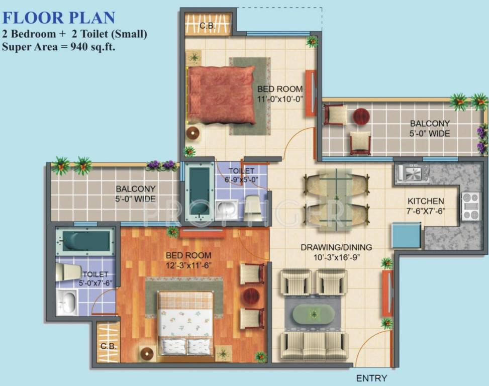 940 sq ft 2 bhk 2t apartment for sale in maxblis white for Home plans com