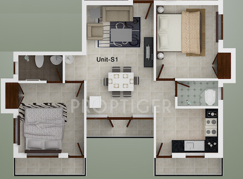 720 Sq Ft Apartment Floor Plan Of 720 Sq Ft 2 Bhk 2t Apartment For Sale In Ace Olive Porur