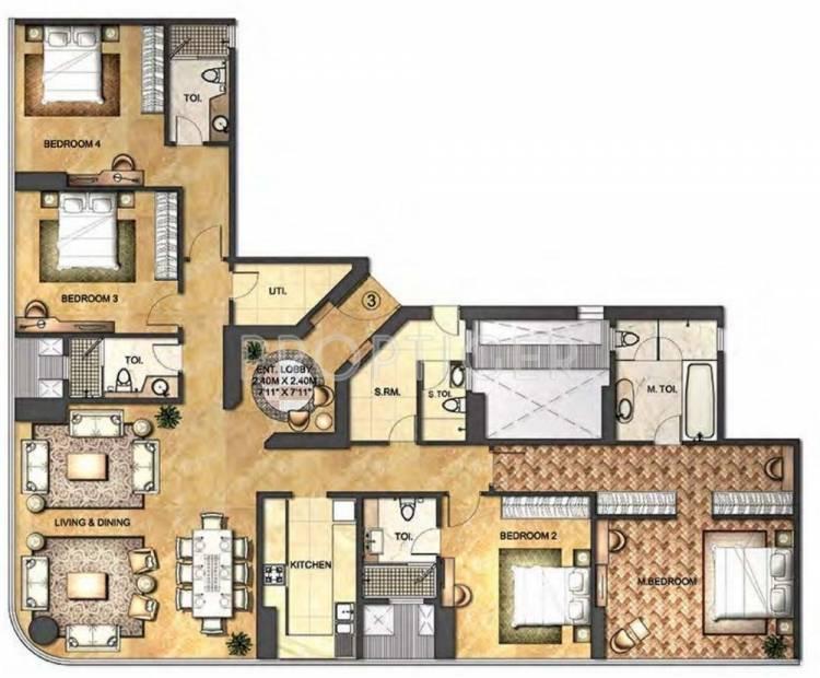 Indiabulls Blu (4BHK+5T (3,211 sq ft) + Servant Room 3211 sq ft)