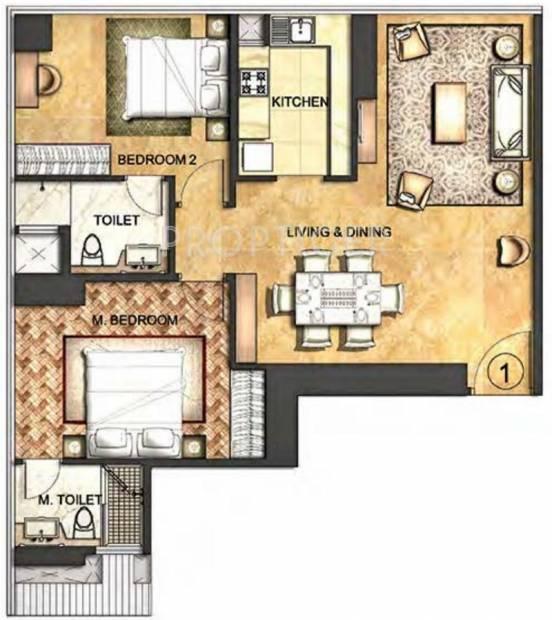 Indiabulls Blu (2BHK+2T (1,301 sq ft) 1301 sq ft)