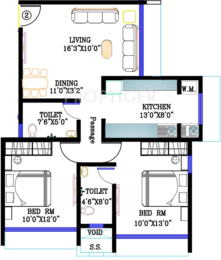 1125 sq ft 2 bhk 2t apartment for sale in kabra group for 1125 sq ft floor plan