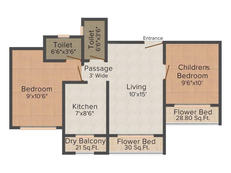 Prem Arch Garden (2BHK+2T (915 sq ft) 915 sq ft)