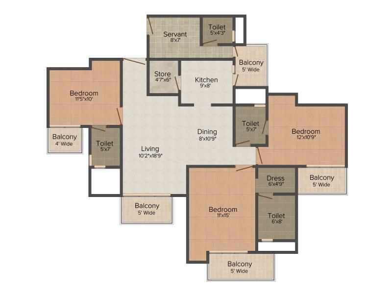 Nirala Greenshire (3BHK+4T (1,860 sq ft) + Servant Room 1860 sq ft)