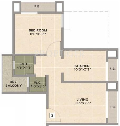 720 sq ft 1 bhk 1t apartment for sale in shree tirupati for 720 sq ft apartment floor plan